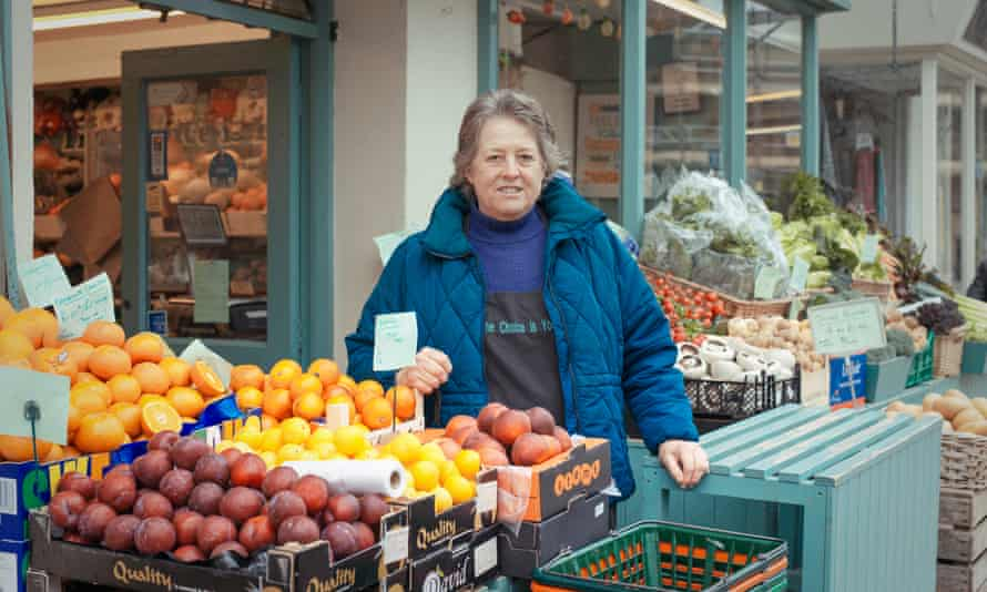 Pat Scott outside her fruit and vegetable shop