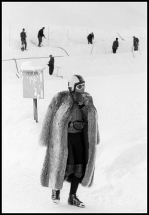 Gunther Sachs, heir and playboy, waiting to ride down the Cresta Run with his toboggan, St Moritz, 1965