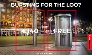 Campaign advert for the Enjoy and Respect initiative launched by the city of Amsterdam; it shows a public urinal which is free to use and a lampost, which is not – and which incurs a fine for antisocial behaviour use.