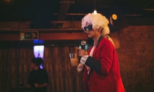 Tamsyn Kelly as MC Mozart at MC Mozart's Classical Smackdown at the Book Club, Shoreditch