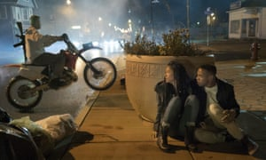 Lex Scott Davis and Joivan Wade, right, in a scene from The First Purge.
