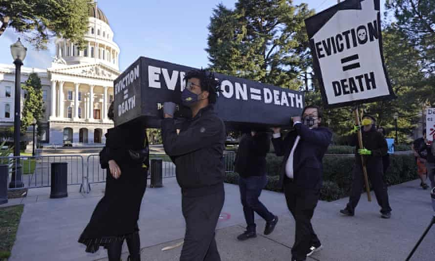 Demonstrators carried a mock casket past California's capitol in January.