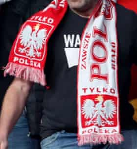 Another apparent Poland fan in Wembley's away end.