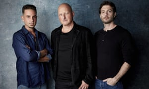 Abuse victims Wade Robson and James Safechuck with Leaving Neverland director Dan Reed.