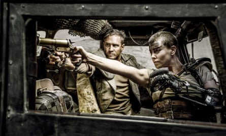 A still from Mad Max: Fury Road starring Tom Hardy and Charlize Theron.