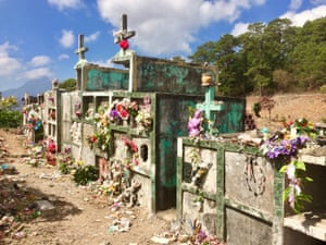 Many stone tombs in the cemetery have been broken