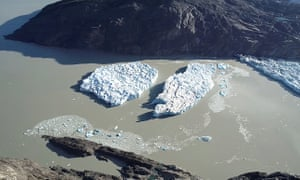 Two new icebergs break off from the Grey glacier in Patagonia, Chile on 9 March.