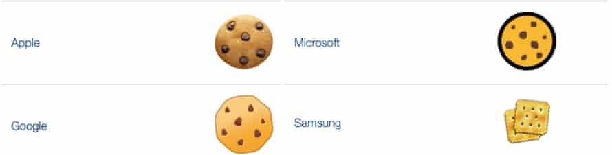 Four cookie emojis.