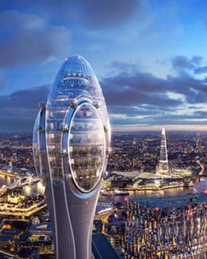 An evening image of the space-age like Tulip from the the same height as the building looking down on Tower Bridge and the Shard