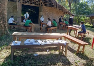 Students attending Covid-safe outdoor classes. The school now has 110 pupils between the ages of 4 and 15.