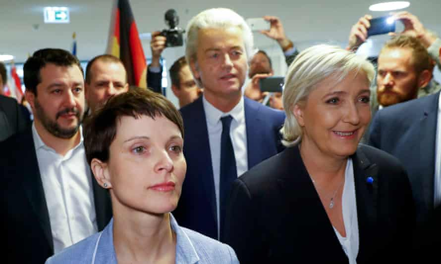 Germany's AfD leader, Frauke Petry, (2nd left), Matteo Salvini of Italy's Northern League (left), France's Front National leader, Marine Le Pen (right) and Geert Wilders, of the Netherlands' Party for Freedom, arrive for a European far-right leaders' meeting.
