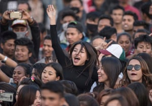 Kathmandu, Nepal Young girls cheer and dance during in a concert