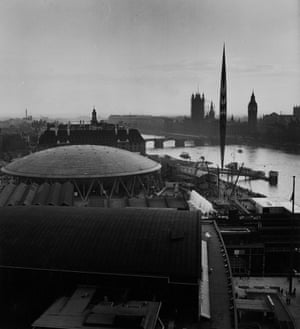The Festival of Britain site on the South Bank in London, 1951, featuring the Royal Festival Hall in the foreground, the Dome of Discovery, Fairway Fountains and the Skylon. (GNM Archive ref: JHB/1/3/43 box 3)