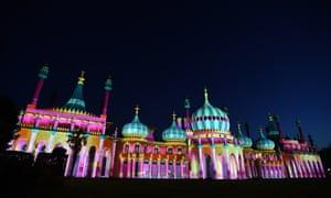 Brighton, England: Brighton Pavilion is illuminated