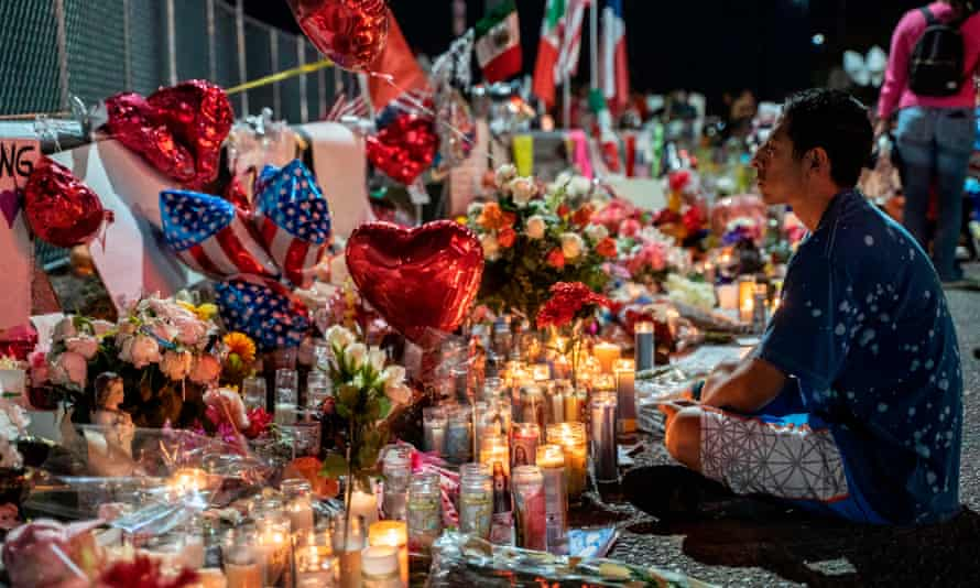 The makeshift memorial for shooting victims in El Paso, Texas. The El Paso shooter confessed to police upon his arrest and said he was targeting 'Mexicans'.