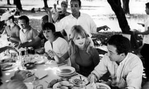 Brigitte Bardot chats to Louis Malle on location near Cuernavaca.