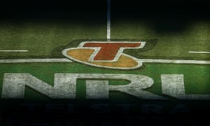The NRL logo is pictured at GIO Stadium on August 3, 2014 in Canberra, Australia.