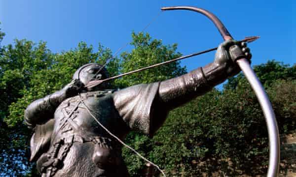 Statue of Robin Hood in Nottingham, Nottinghamshire, England.