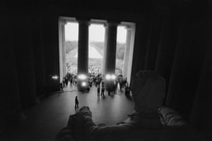 A massive crowd marches from the Washington Monument to the Lincoln Memorial during the March on Washington in 1963.