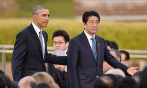 Barack Obama and Shinzo Abe at the Hiroshima Peace memorial park in May