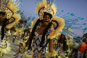 A reveller of the Portela samba school dancing in the parade