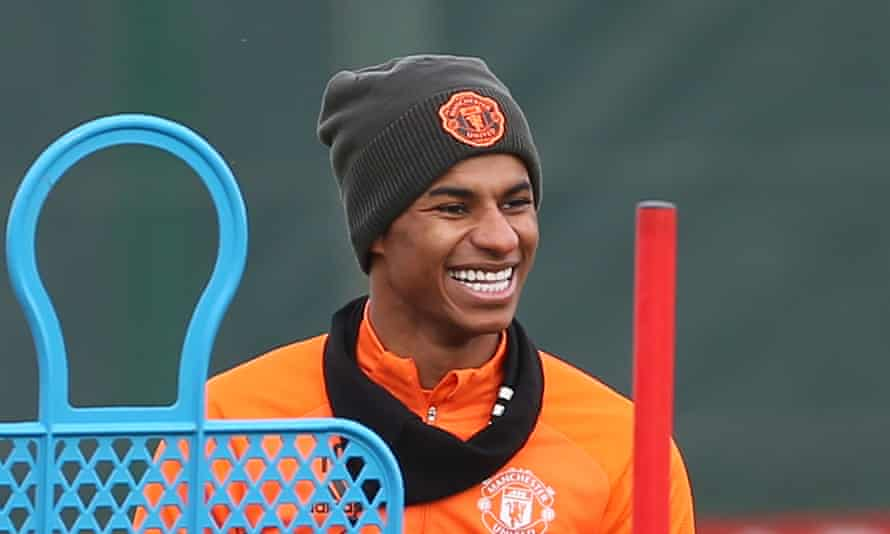 Marcus Rashford of Manchester United in action during a first team training session at Aon Training Complex