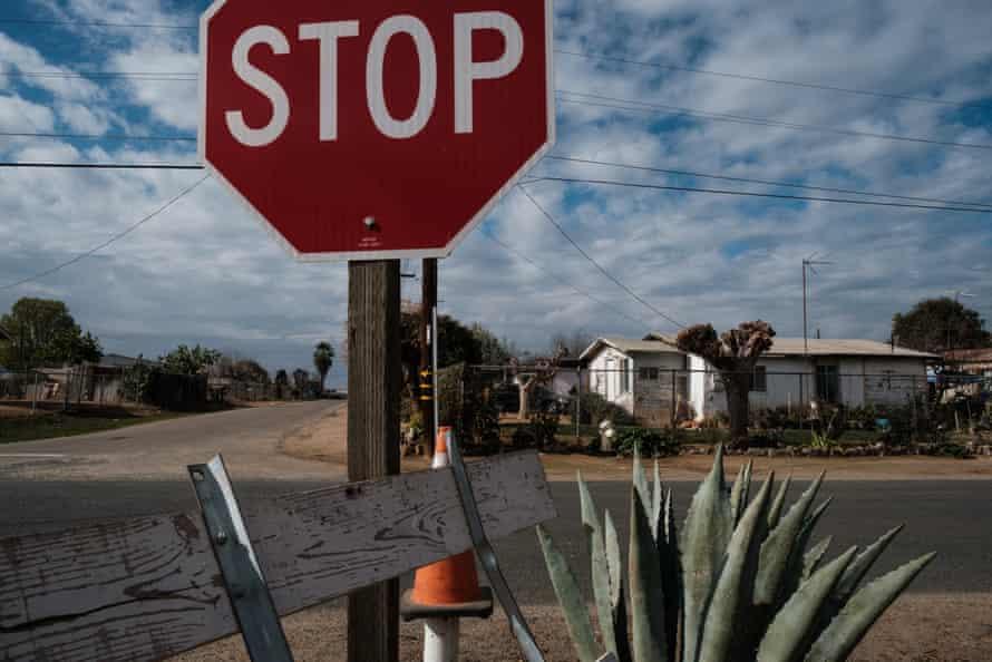 A neighborhood in East Orosi, California in January.