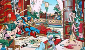 The Hangover. A decadent Superman hosts both eastern and western friends. Tsai's images are made with the 3,000-year-old technique of lacquer carving, where the image is engraved on a wooden panel and then layers of lacquer applied to it