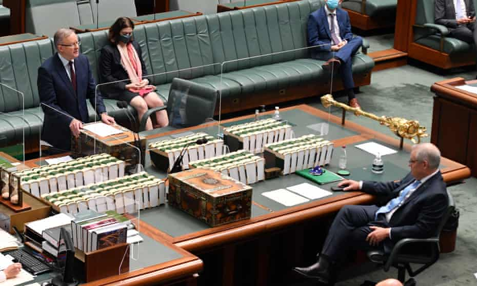 Leader of the opposition, Anthony Albanese addresses parliament