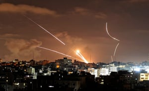 Rockets are launched from Gaza City towards Israel