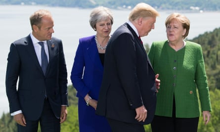 From left to right: the president of the European council, Donald Tusk, the UK prime minister, Theresa May, the US president, Donald Trump, and the German chancellor, Angela Merkel