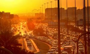 Riyadh at sunset.