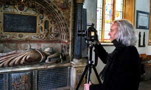 Newham photographing the tomb of Lady Elizabeth, the first cousin to King Edward VI.