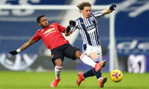 West Bromwich Albion's Conor Gallagher in action with Manchester United's Fred.