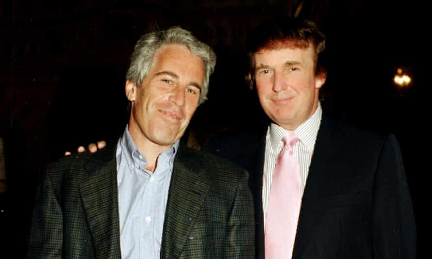 Jeffrey Epstein with Donald Trump at Mar-a-Lago in 1997. Trump said in 2002 Epstein was a 'terrific guy' he had known for 15 years.