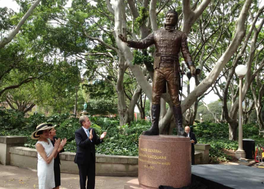 Then Governor Marie Bashir, Sydney Lord Mayor Clover Moore and NSW Premier Barry O'Farrell unveil a statue of Governor Lachlan Macquarie in Sydney's Hyde Park in 2013.