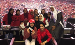 Members of the Hijabi Ballers at Scotiabank Arena