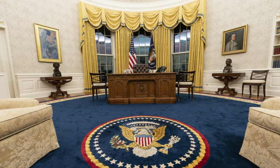 The Oval Office of the White House, newly redecorated for the first day of Joe Biden's administration.