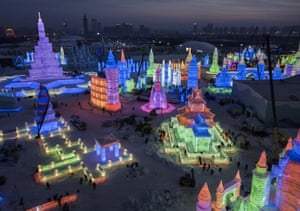 Multi-coloured lights give the structures a dazzling glow across the 750,000 square metre festival