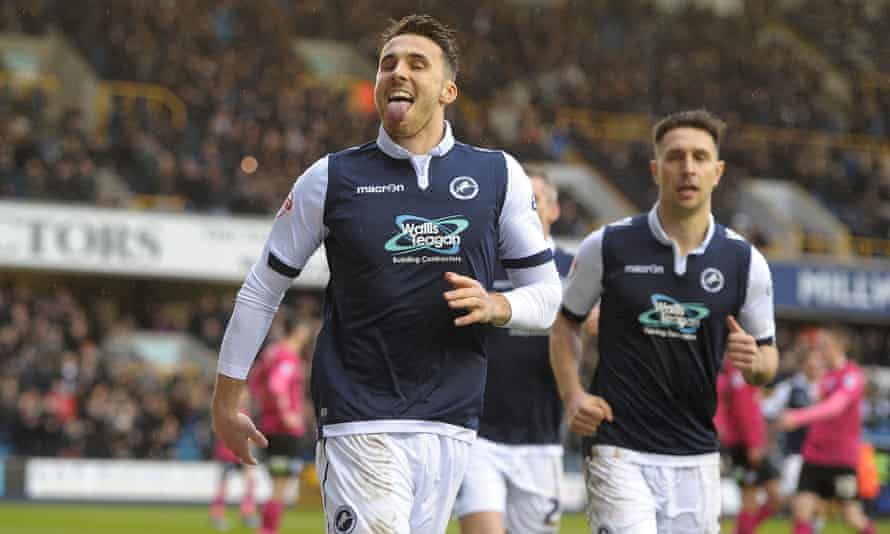 Lee Gregory celebrates scoring for Millwall against Peterborough