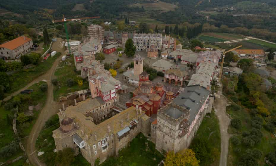 Aerial view of the The Holy and Great Monastery of Vatopedi on Mount Athos.