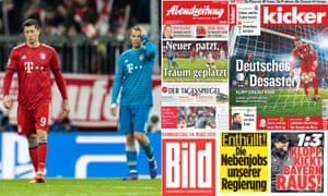 Bayern Munich's Robert Lewandowski and Manuel Neuer, left, look dejected after the defeat to Liverpool, with the headlines from Thursday's papers.