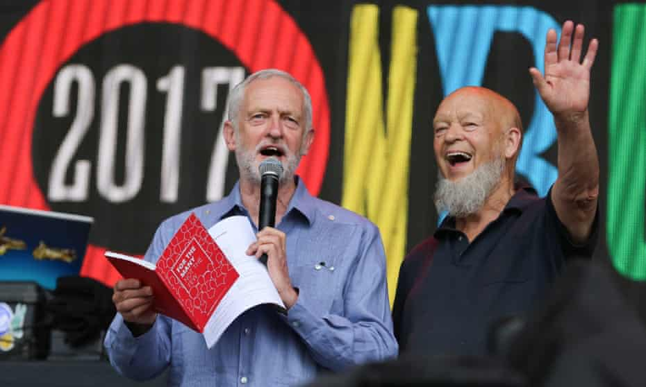 Jeremy Corbyn and Glastonbury founder Michael Eavis on the Pyramid stage.