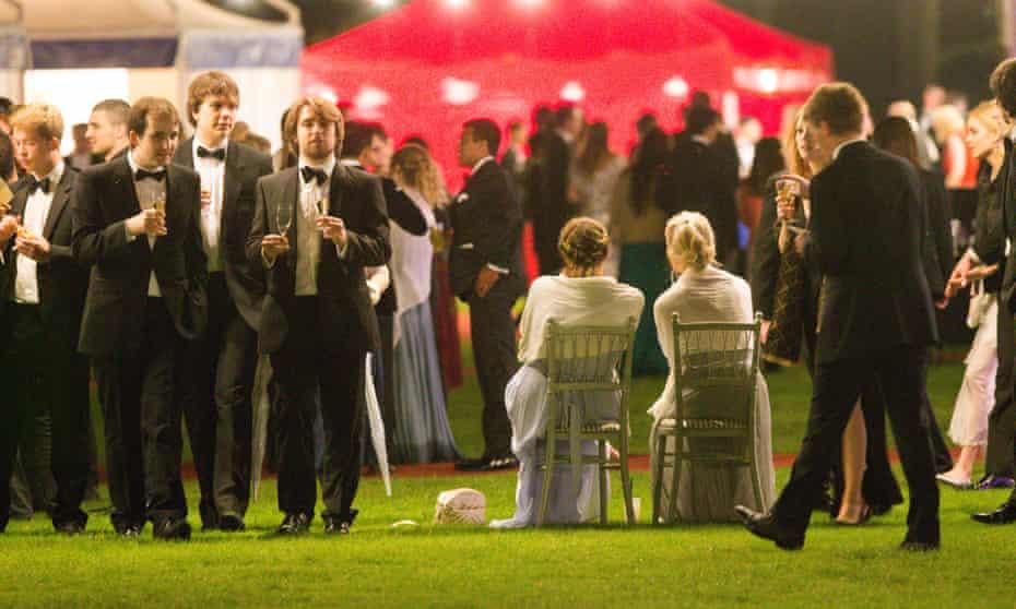 Cambridge University students at the Trinity May Ball on 13 June.