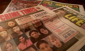 'Mugshot tabloids' like Just Busted make money by selling papers full of booking photos of people arrested in the local area.