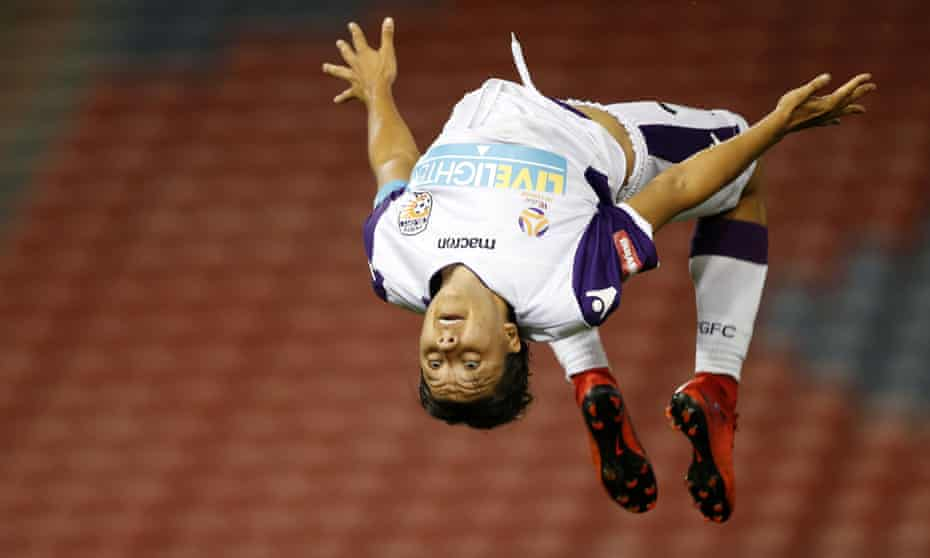 Sam Kerr celebrates one of the goals that made her Perth Glory's record scorer.