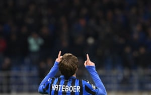 Hateboer celebrates after scoring his second goal.