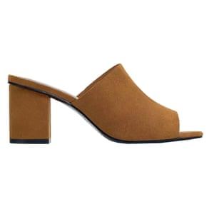 brown high heeled mules