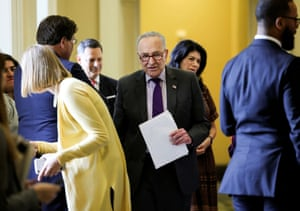 Senate majority leader Chuck Schumer arrives for the Senate Democrats weekly policy lunch.