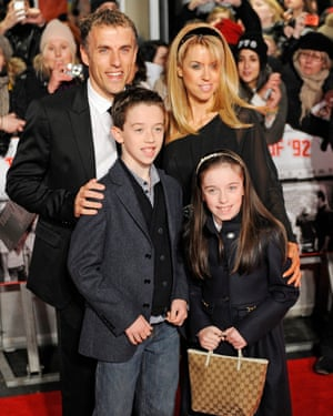 Neville with his wife Julie and their children Isabella and Harvey, 2013.